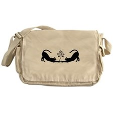 Cats Stretching with Lotus Messenger Bag