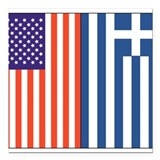Greek flag Square Car Magnets