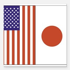 "US and Japan Square Car Magnet 3"" x 3"""