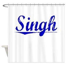 Singh, Blue, Aged Shower Curtain