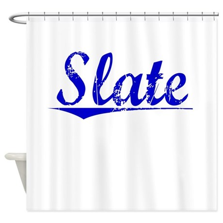 Slate Blue Aged Shower Curtain By Thecafemarket