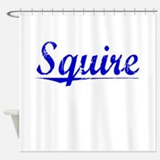 Squire, Blue, Aged Shower Curtain
