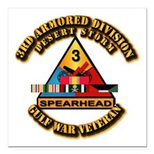 "Army - DS - 3rd AR Div Square Car Magnet 3"" x 3"""