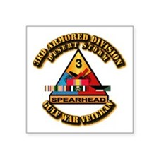 "Army - DS - 3rd AR Div Square Sticker 3"" x 3"""