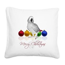 african grey christmas Square Canvas Pillow