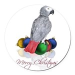 african grey christmas Round Car Magnet
