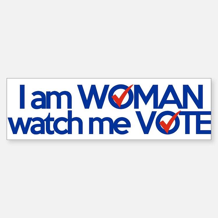 i am woman watch me vote Bumper Bumper Sticker