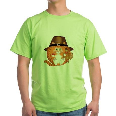 Bauble Cat Thanksgiving Green T-Shirt