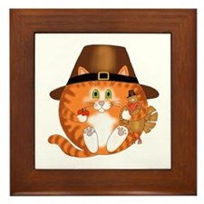 Bauble Cat Thanksgiving Framed Tile