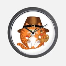 Bauble Cat Thanksgiving Wall Clock