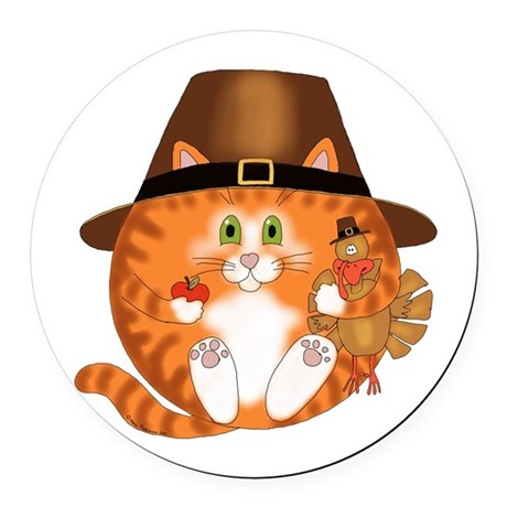 Bauble Cat Thanksgiving Round Car Magnet