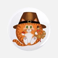 "Bauble Cat Thanksgiving 3.5"" Button (100 pack"