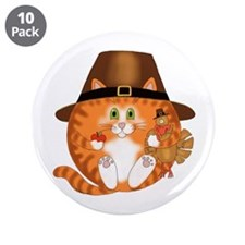 """Bauble Cat Thanksgiving 3.5"""" Button (10 pack)"""