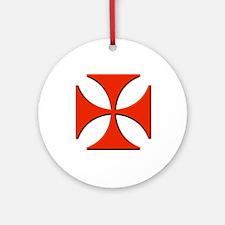 Red Maltese Cross Ornament (Round)