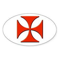 Red Maltese Cross Oval Decal