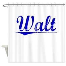 Walt, Blue, Aged Shower Curtain