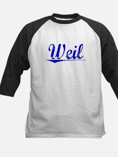 Weil, Blue, Aged Kids Baseball Jersey