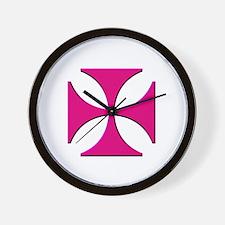 Pink Maltese Cross Wall Clock