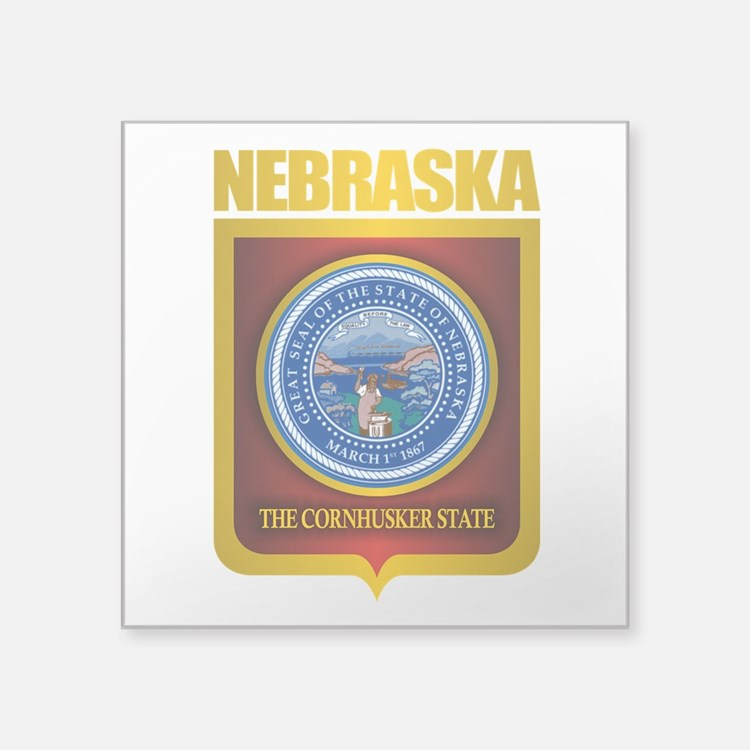 "Nebraska Seal (back) Square Sticker 3"" x 3"""