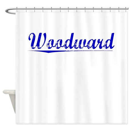 Woodward, Blue, Aged Shower Curtain