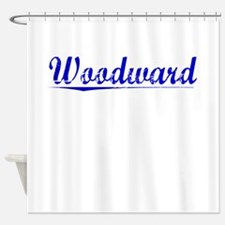 Woodward, Blue, Aged Shower Curtain