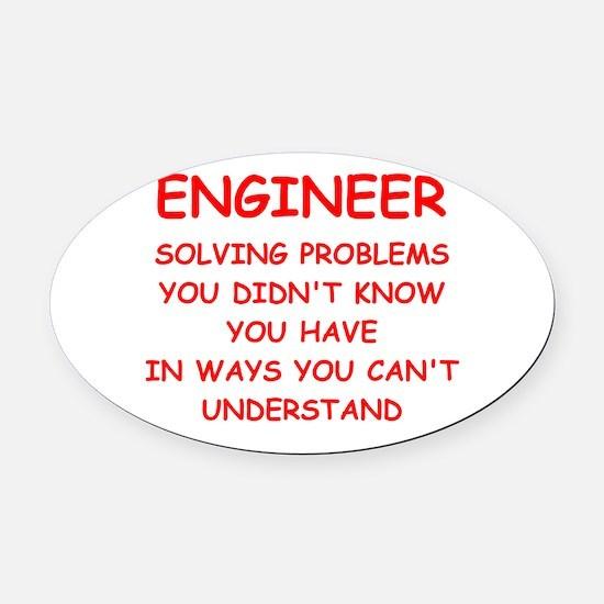 ENGINEER Oval Car Magnet