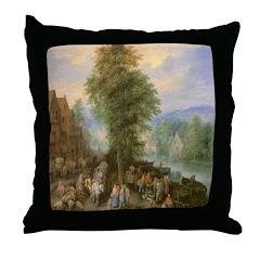 The Peasant's Market Throw Pillow