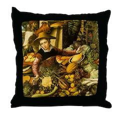 Medieval Vegetable Vendor Throw Pillow