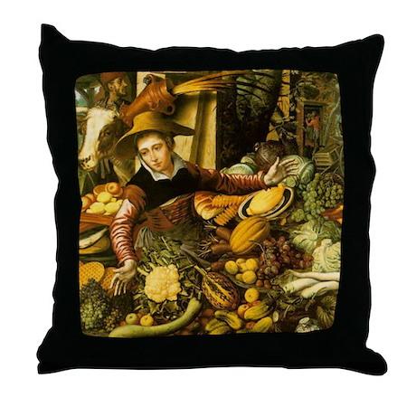 Throw Pillow Vendors : Medieval Vegetable Vendor Throw Pillow by medievalmist