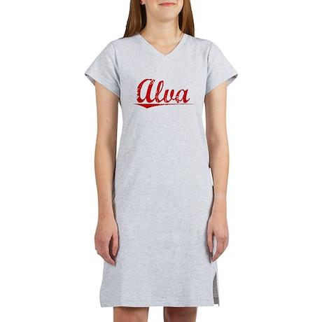 Alva, Vintage Red Women's Nightshirt