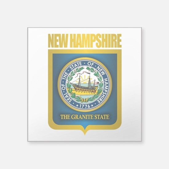 "New Hampshire Seal (back) Square Sticker 3"" x 3"""