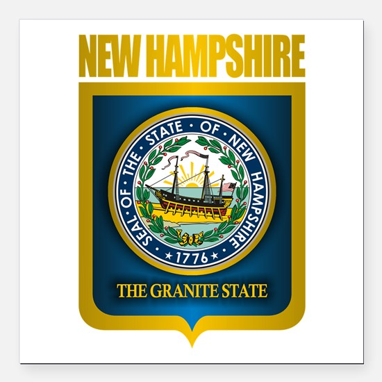 """New Hampshire Seal (back) Square Car Magnet 3"""" x 3"""
