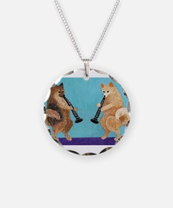 Pomeranian Clarinet Duo Necklace Circle Charm