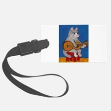 Cat on Guitar Luggage Tag
