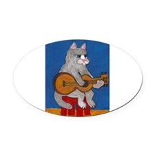 Cat on Guitar Oval Car Magnet