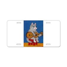 Cat on Guitar Aluminum License Plate