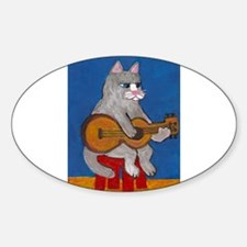 Cat on Guitar Decal
