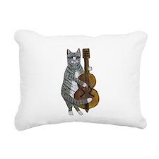 Tabby Cat cello player Rectangular Canvas Pillow