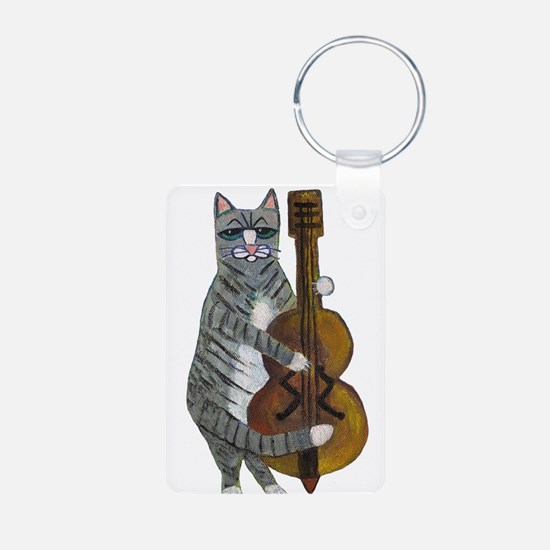 Tabby Cat cello player Keychains