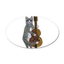 Tabby Cat cello player Wall Decal