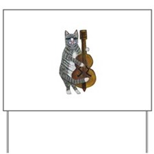 Tabby Cat cello player Yard Sign