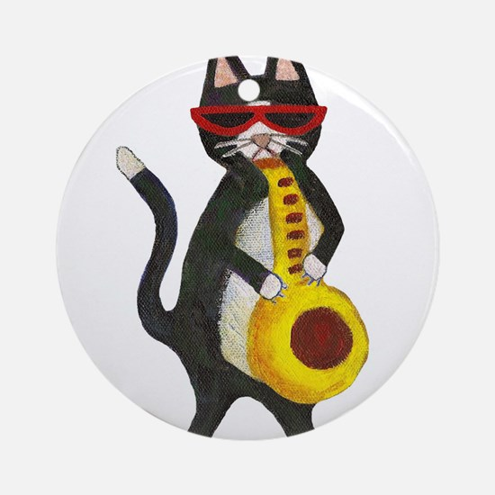Tuxedo cat with sax Ornament (Round)