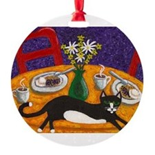 tuxedo cat and coffee Ornament