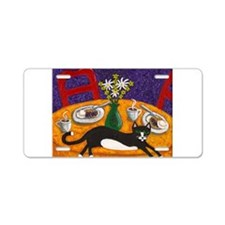 tuxedo cat and coffee Aluminum License Plate