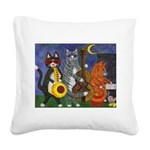 Jazz Cats Square Canvas Pillow