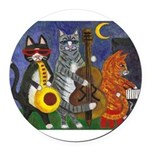 Jazz Cats Round Car Magnet