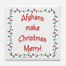 Merry Afghan Tile Coaster