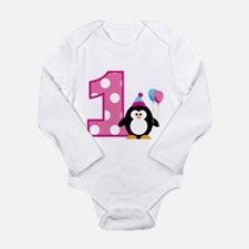 Girl Penguin 1st Birthday Body Suit