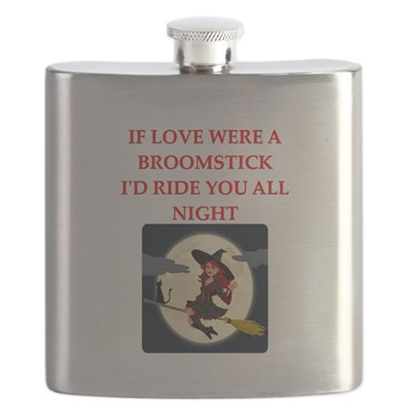 love witch ride broomstick Flask