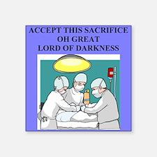 "funny halloween evil satan joke Square Sticker 3"""